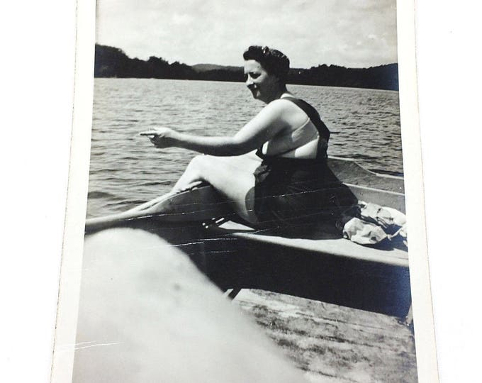 Vintage Antique B&W Photograph Woman in Bathing Suit Swimsuit in Row Boat Lake
