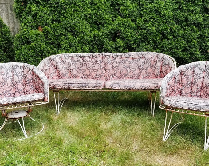 Vintage Homecrest White Wrought Iron Patio Couch & Chair Rocker/Bouncer 3 Pc Set -Contact for Shipping Quote