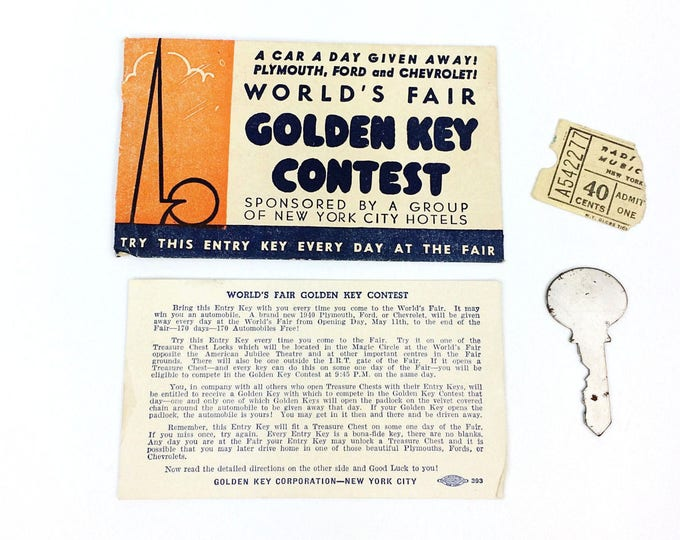 Vintage 1940 New York World's Fair Golden Key Contest w Envelope Ticket Stub a1