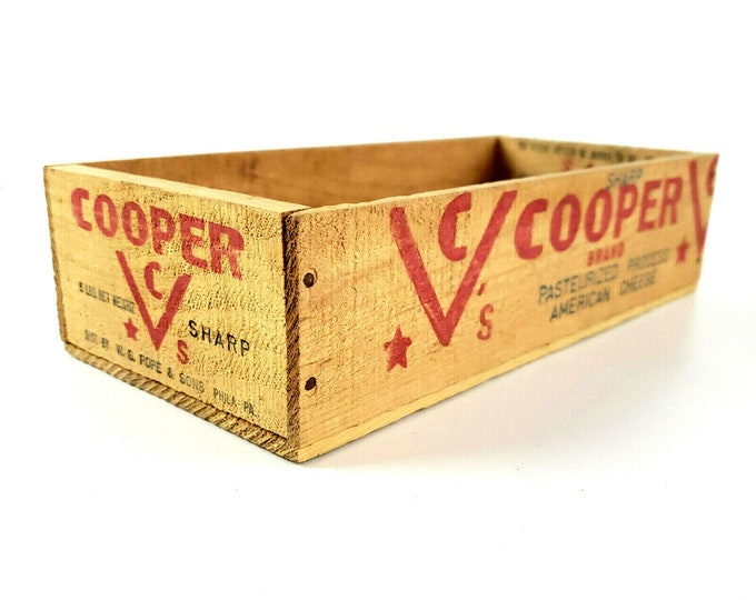 Vintage 5lb Wood Cooper Sharp Cheese Box Crate Pope & Sons Philadelphia Pa