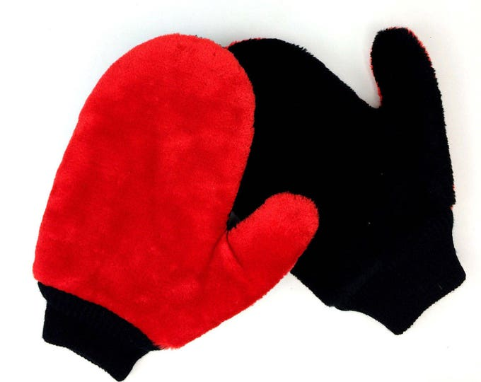 Vintage Black/Red Faux Fur Lined Snowmobile Ski Winter Mittens Gloves