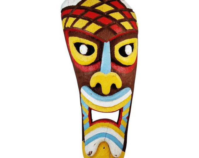 Original Vintage Pacific 4ft Carved Wood Painted Multi-Color Tiki Face