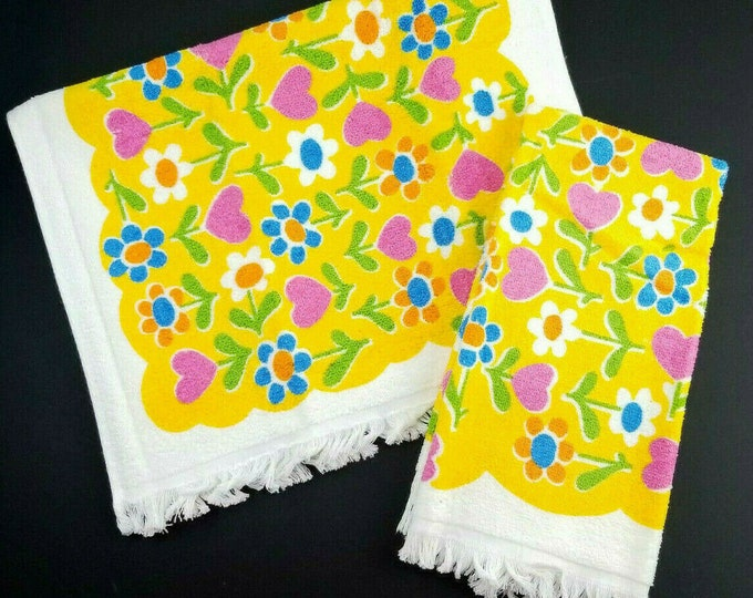 2 Vintage Flower Power Groovy Yellow/Orange/Pink Fringed Bath Hand Dish Towel