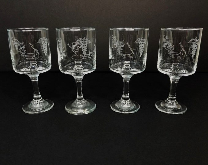 Set of 4 RX Doctor Pharmacy Design Clear/Frosted Glass Drinking Goblets Glasses