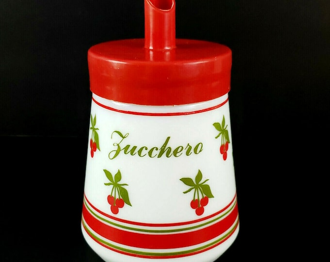 Vintage Cerve Italy Milk Glass Cherry Design Sugar Zucchero Jar Cannister bt