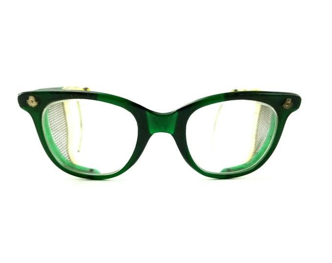 Vintage CESCO Safety Glasses Green Frames Mesh Side Guards Steampunk Industrial