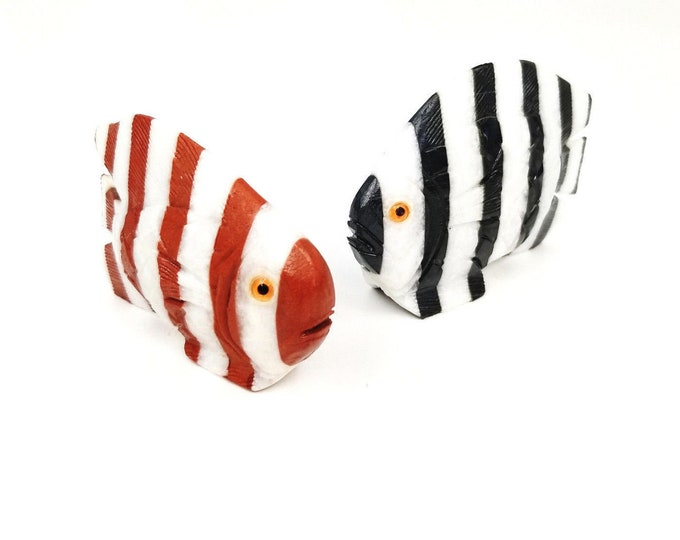 2 Hand-Carved Stone Painted Stripe Fish Art Figurine-Unique Cake Toppers/Decor