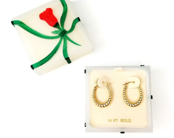 Vintage 14K Gold JCM Jacmel Hoop Pierced Earrings w Original Gift Box