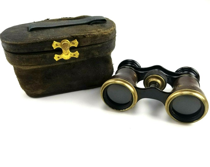 Antique Lamier Paris France Leather Field Opera Glasses Binoculars with Case