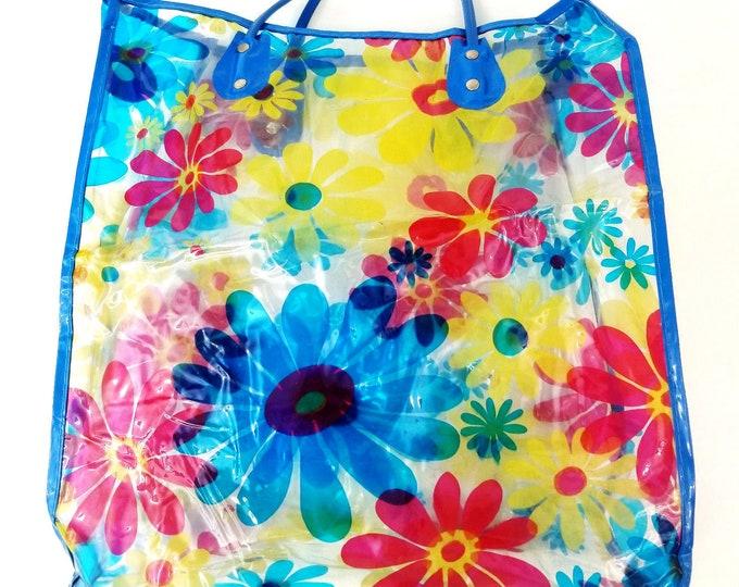 Vintage 1960s Retro Floral Flower Power Clear Plastic Vinyl Tote Bag