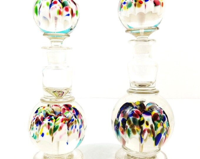 Pair of Antique Art Glass Multi-Color Heavy Blown Glass Scent Perfume Bottles
