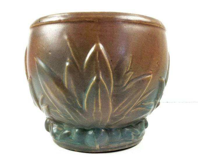 McCoy 1930s Pottery Leaf & Berry Brown Green Matte Jardiniere Planter Urn