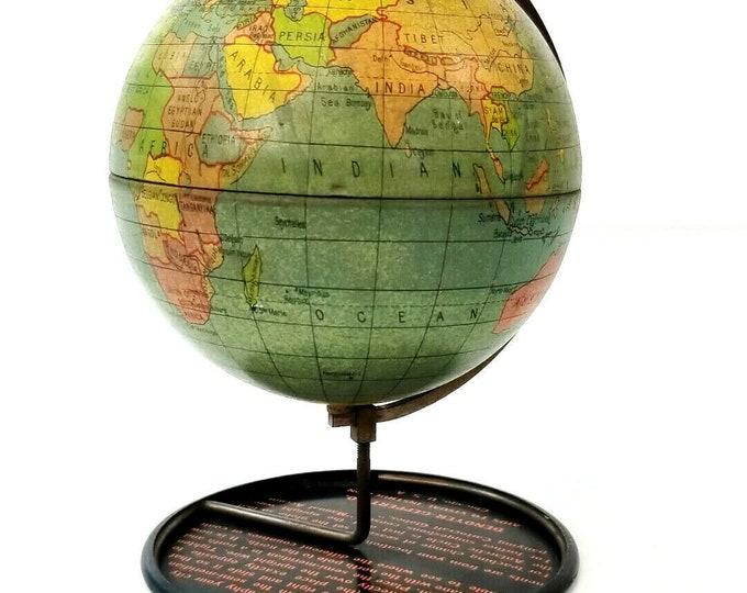 Antique Vintage Denoyer-Geppert Co. 1920's Art Deco 4 Inch Desk Globe USA