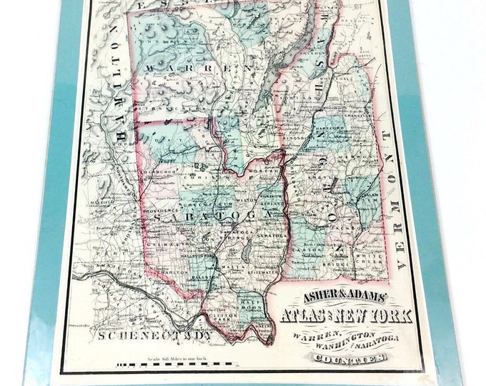 Antique 1871 Warren Washington Saratoga County New York Asher & Adams Atlas Map