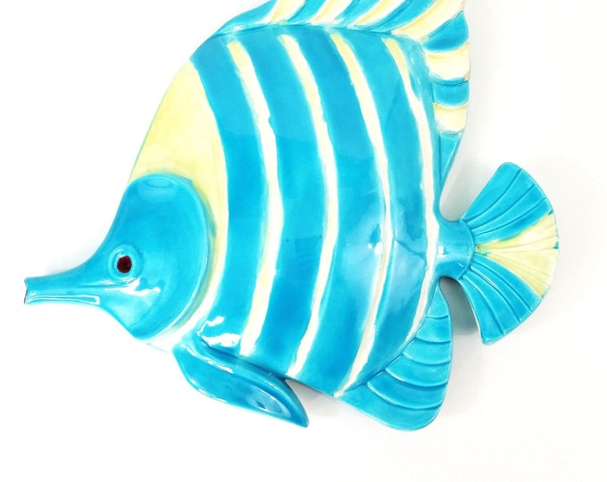 Vintage Ken Ocorr Ceramic Fish Blue/Cream/Yellow Wall Hanging Signed 1969