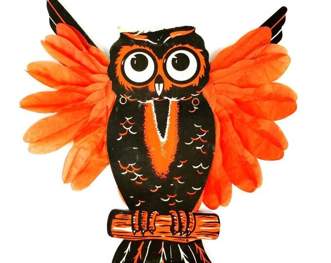 Vintage Die Cut Honeycomb Wing Owl Halloween Decoration-Japan