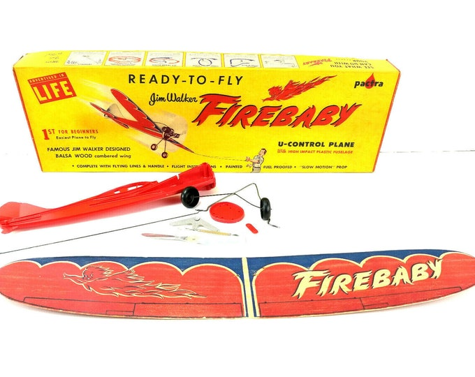 Vintage 1950s Jim Walker Firebaby Balsa Wood Airplane Kit Incomplete with Box