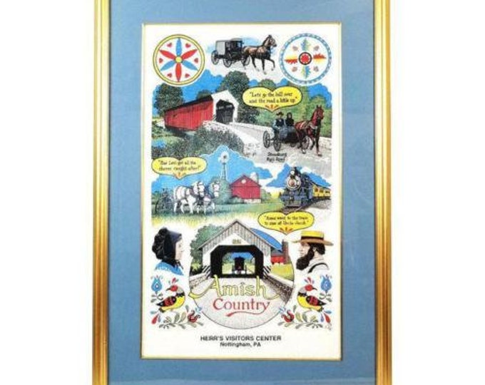 Vintage Pennsylvania Dutch Amish Country Souvenir Herr's Tea Towel Framed