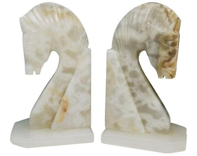 Pair of Mid Century Vintage Alabaster Marble Horse Head Bookends