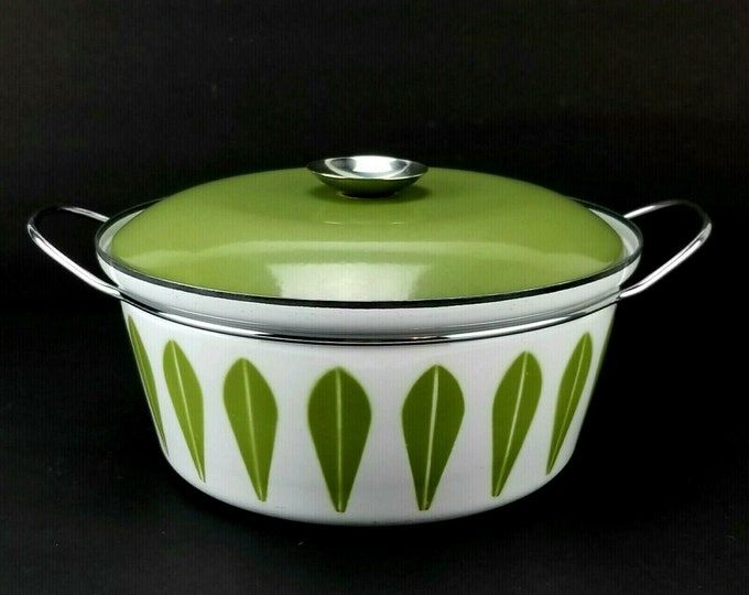 Mid Century Cathrineholm Green Lotus 4qt Enamel Covered Dutch Oven Casserole