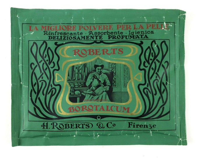 Antique Italian Roberts Borotalcum Talcum Bath Powder Refill Pouch New Sealed bt