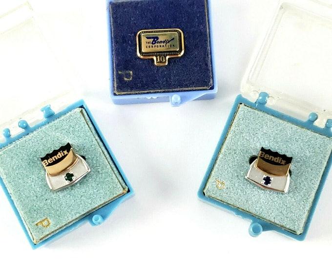 3 Vintage Bendix Gold 1960s Aviation Employee Service Pins 10K Emerald Sapphire