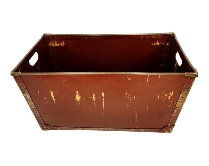 Vintage Industrial Metal/Fiberboard Brown Factory Bin Container Storage Box bt
