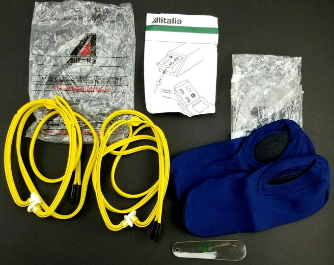 Vintage Alitalia Airlines Travel Amenity Lot-2 Headphones/Booty Socks/Shoe Horn
