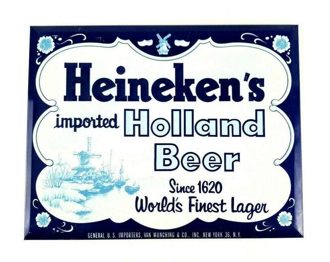 Vintage Heineken Blue Holland Beer Tin Embossed over Cardboard ToC Sign Display