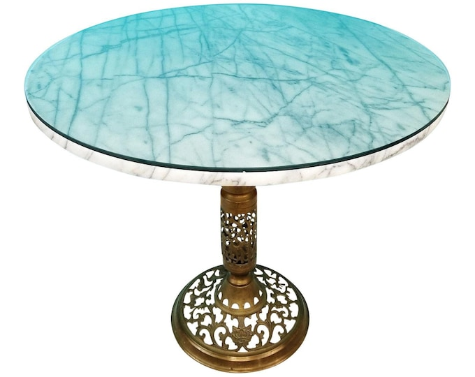 "Hollywood Regency MCM Brass & Marble w Glass Top Side Accent Table 20.5"" x 24"""