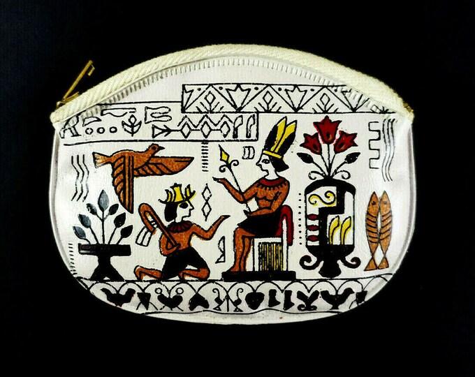 Vintage Egyptian Hieroglyphics Vinyl Change Coin Purse Zipper Closure