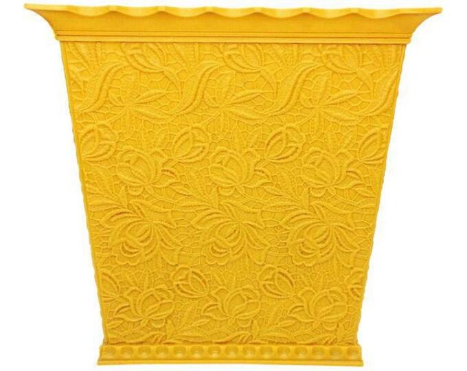 Vintage Mid Century MCM Max Klein Floral Yellow Plastic Waste Basket Trash Can