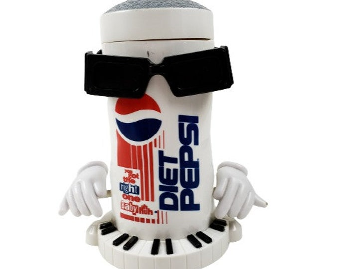 Vintage 90s Diet Pepsi Coca Cola Dancing Sound Activated Can w Sunglasses WORKS
