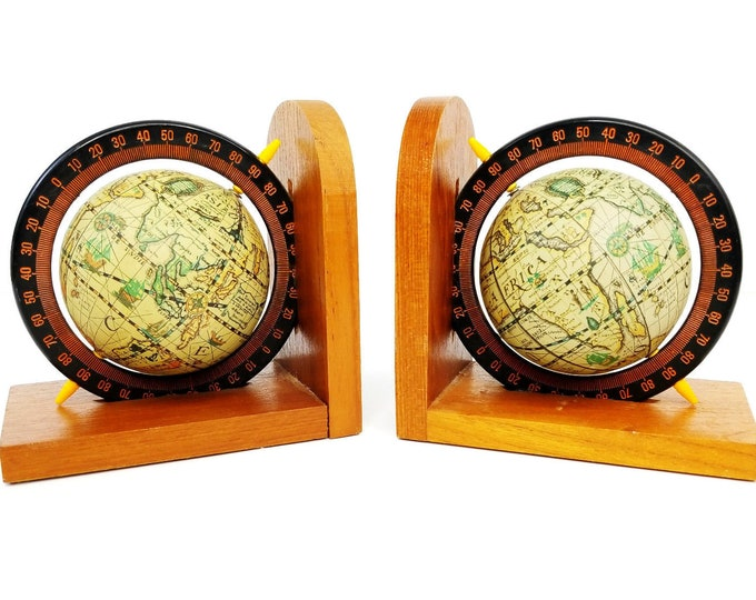Vintage Wooden Wood Spinning Rotating World Globe Library Office Bookends-A Pair