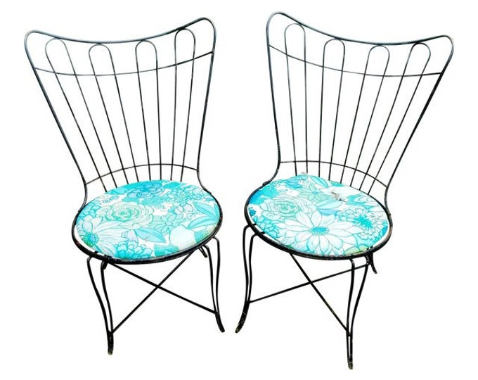 Pair of Vintage Homecrest/Salterini Black Wrought Iron Patio Chairs w Floral Seats