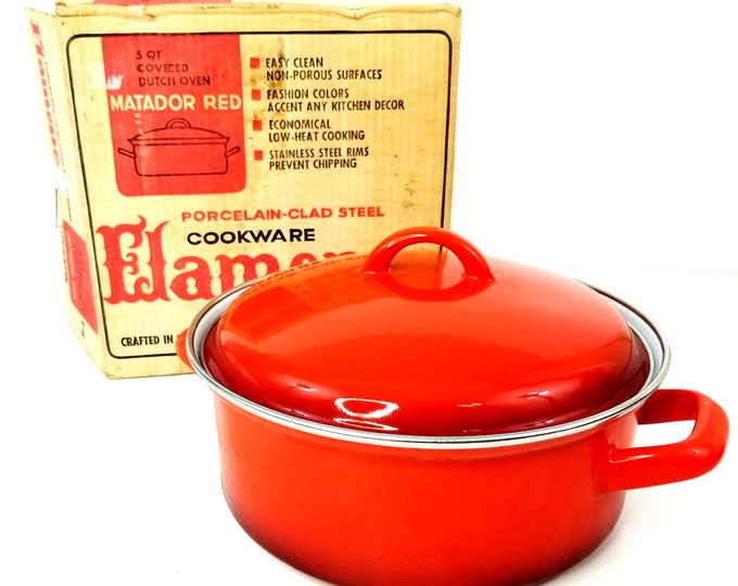 Vintage NIB Flamenco Matador Red 5 Qt Covered Dutch Oven Porcelain Cookware bt
