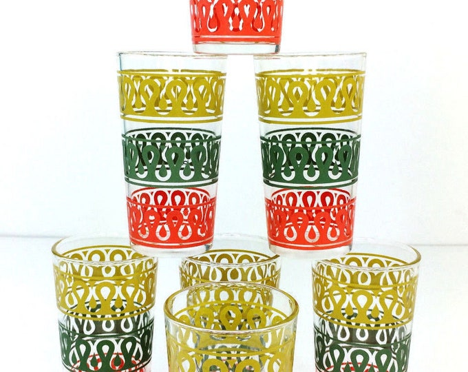 7 Vintage Mid Century Continental Can Company Yellow/Green/Red Tumbler Glasses