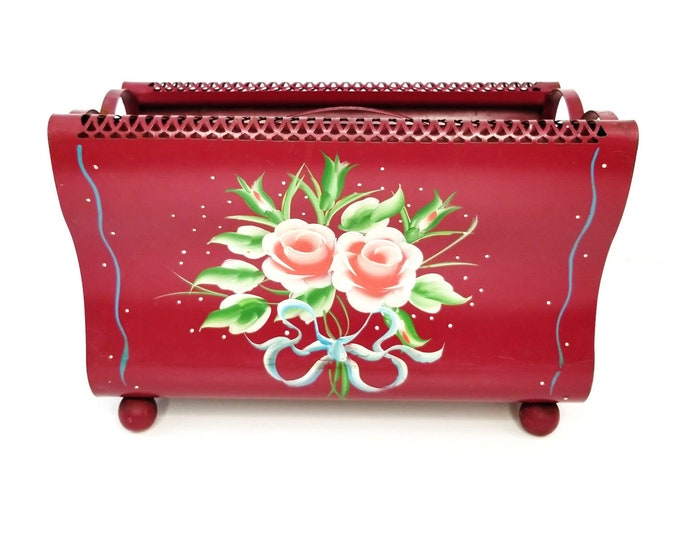 Vintage Hand Painted Toleware Metal Magenta/Red Rose Floral Magazine Rack Stand bt