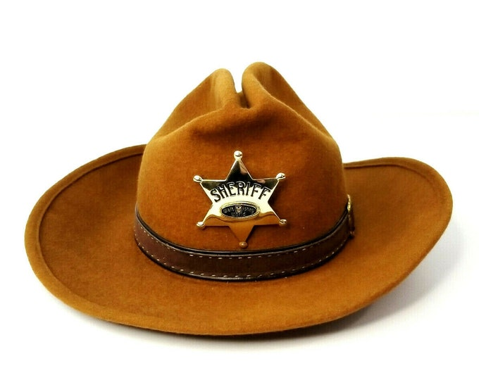 Vintage 1970s Walt Disney World Frontierland Wool Cowboy Hat w Sheriff Badge Pin