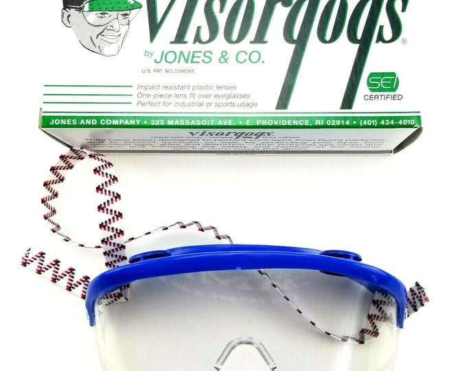 Vintage NOS Visorgogs Blue Safety Glasses w Adjustable Strap-New in Box bt