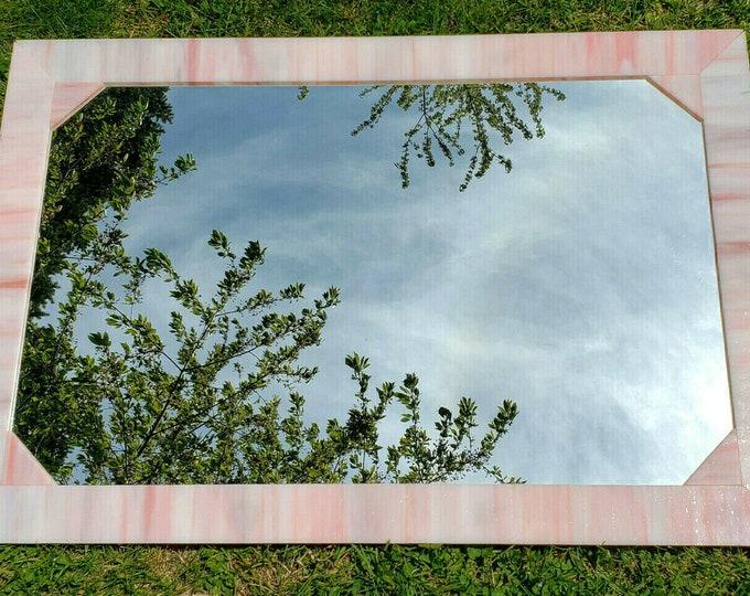 "Vintage Virginia Mirror Co Pink Swirl Slag Stained Glass Mirror 30"" x 20"""