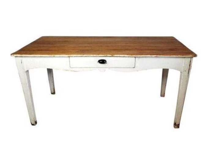 Antique Primitive French Farm Table Country White Scalloped Edge with Drawer-Contact Us For Shipping Quote