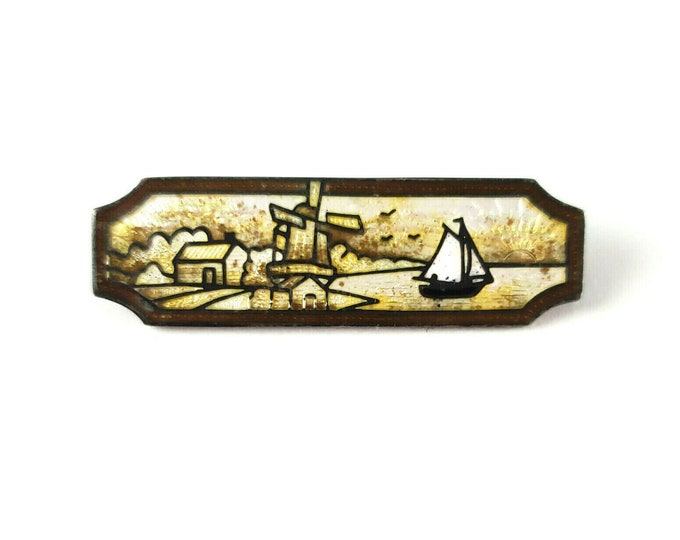 Antique Sterling Silver Lighthouse Sail Boat Scene Enameled Bar Pin Brooch