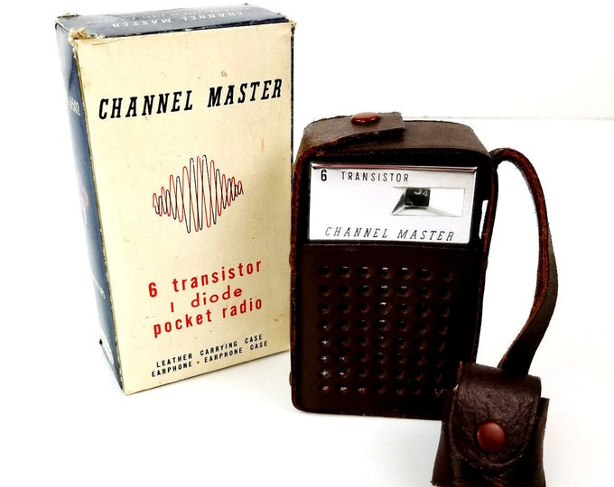 Vintage Maverick 6 Channel Master Transistor Pocket Radio/Headphones Leather Travel Case Box