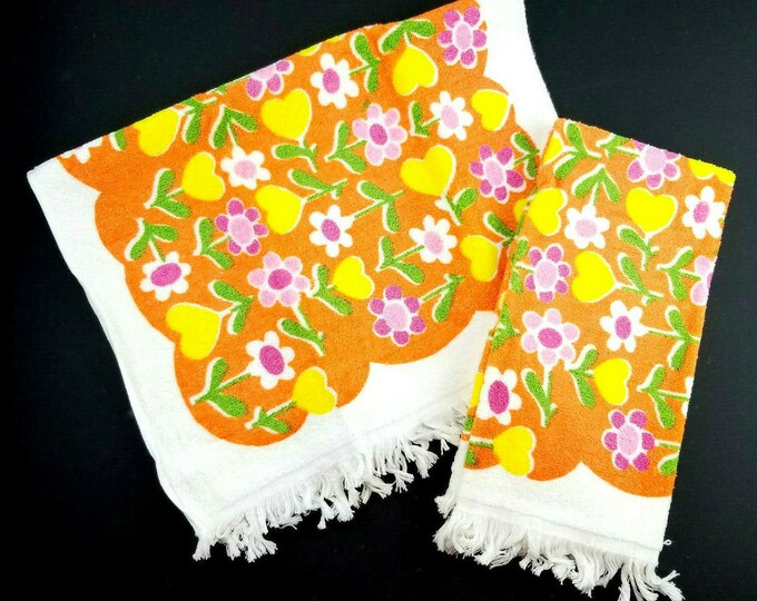 2 Vintage Flower Power Groovy Orange/Pink/Yellow Fringed Bath Hand Dish Towel