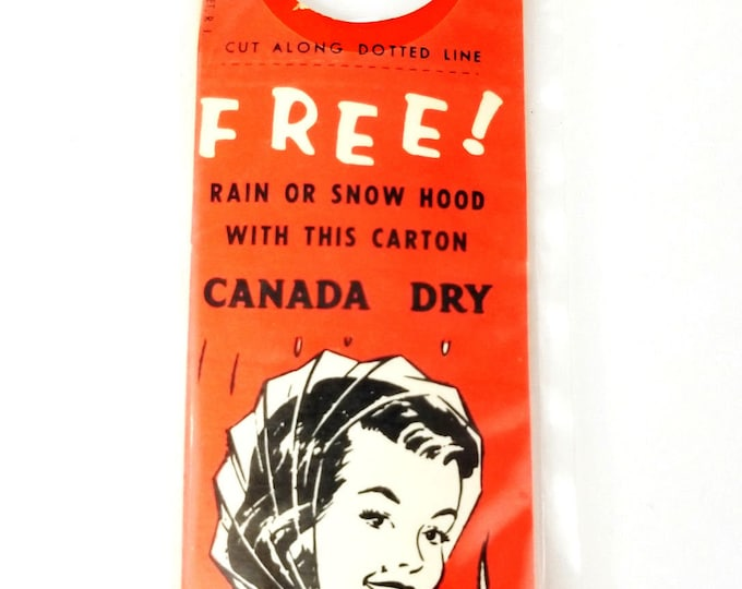 Vintage NOS Canada Dry Advertising Clear Plastic Rain Bonnet Cap Babushka Cover