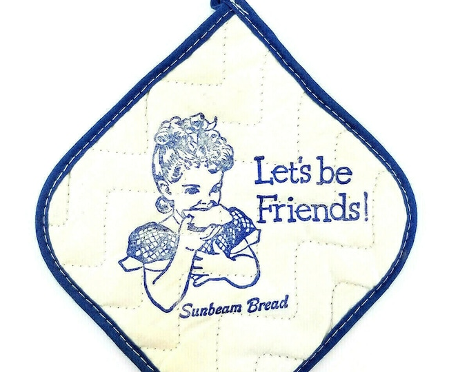 Vintage Sunbeam Bread Advertising Blue/White Quilted Kitchen Pot Holder