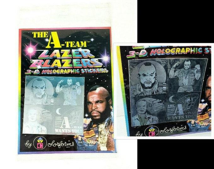 NOS Vintage 1980s A-TEAM Mr T 3-D Holographic Lazer Blazers Colorform Sticker