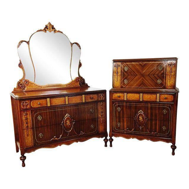Reserved Antique Art Nouveau Gilt Walnut Floral Highboy Dresser