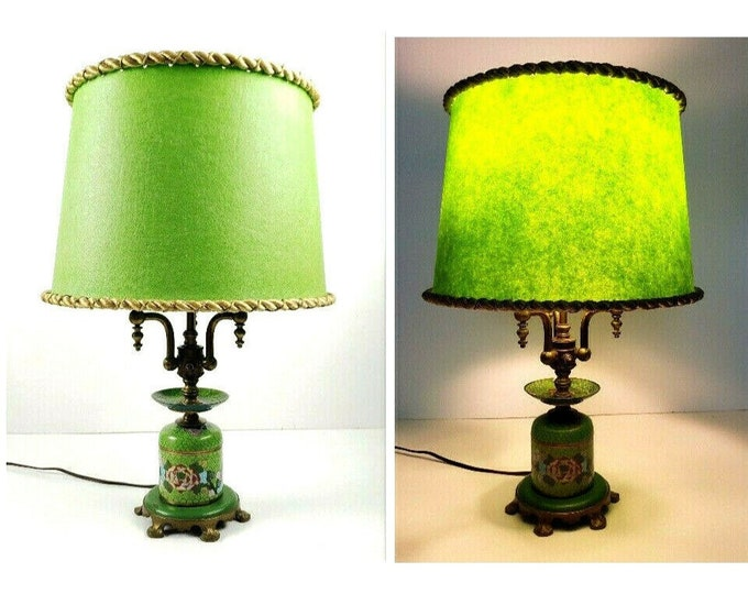 Deco Vintage Art Specialty Co Chicago Cloisonne Enamel Green 3 Light Table Lamp
